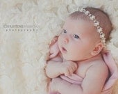 CECILY--Cream Pearl & Rhinestone Newborn Infant Tieback Headband Bridal Hair Piece--Photo Prop--Fits All Ages