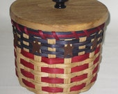 Lidded Toilet Paper Basket- Single Roll- Storage Basket-Americana-Canister Basket
