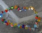 Crocheted Rainbow Bead Bracelet
