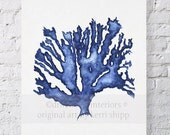 Sea Coral in Denim Watercolor Print 11x14 - Blue Coral Print - Coral Art Print - Beach Home Decor