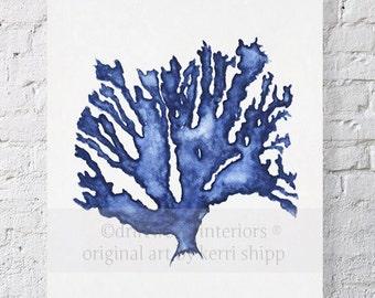 Sea Coral in Denim Watercolor Print 11x14 - Blue Coral Print - Coral Art Print - Beach Home Decor
