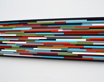 Abstract Painting on Wood - Modern Wood Sculpture Wall Art 20X60