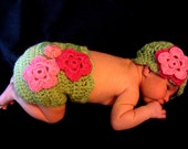 Spring Flowers Diaper Cover and Hat Set -- Sz. Newborn -- Light Green with Coral and Pink Flowers -- Ready to Ship