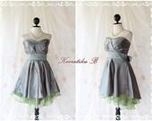 Cinderella Story Goddess Cocktail Dress Asymmetric Hem Taffeta Gray Color Longer Green Organza Lining S-M