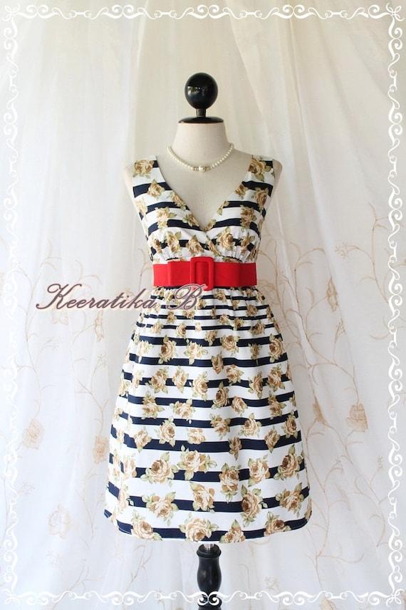 SALE - Miss Floral - Stripes Floral Print Summer Dress V Neck Golden Brown Roses Dress Bridesmaid Wedding Party Tea Vintage Style Dress