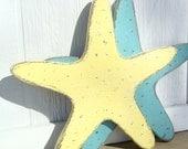 starfish yellow nautical wood wall art