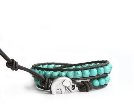 Turquoise Beaded Leather Wrap Bracelet - the lucky elephant Original with Good Luck Elephant Button Closure for GOOD LUCK