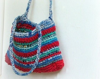 XL Rag crochet bag - opposites attract - fabulous red and blue fabric yarns