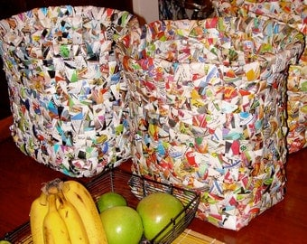 Custom Made Trash Bins made from Trashed Paper