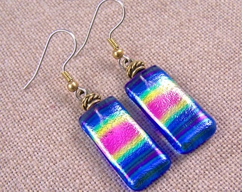 Dichroic Earrings - Tie Dye Dangle Blue Magenta Gold Rainbow Prism Tie Dye Fused Glass - Surgical Steel French Convert to Clip On