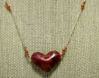 puffy copper heart with sterling silver chain