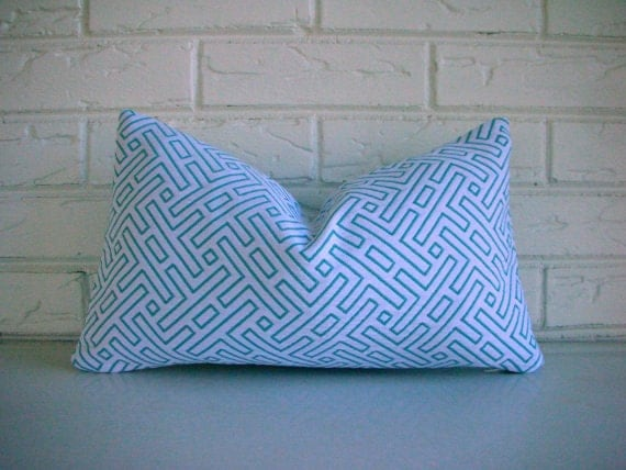 SALE Turquoise Modern Decorative Pillow Cover - Geometric Pattern Throw Pillow - Blue White