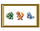 Gameboy Starter Pokemon Counted Cross Stitch Pattern PDF Bulbasaur, Charmander and Squirtle Sprite