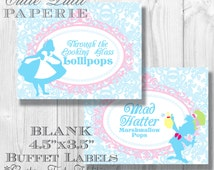 Alice in Wonderland Party Candy Buffet Signs by Cutie Putti Paperie