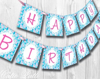 Spa Party, Pampering Party - PRINTABLE BIRTHDAY BANNER - Cutie Putti Paperie