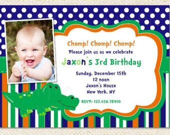 Crocodile Birthday Invitations, Alligator birthday invitations