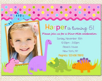 Dinosaur Birthday Invitations for girl