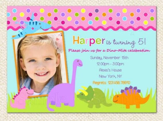 Dinosaur Birthday Invitations for girl