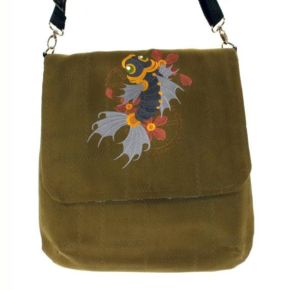 Steampunk koi fish reversible messenger bag steampunk koi for Koi fish purse