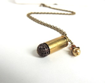 Bullet Necklace - brass bullet necklace - bullet jewelry - brown/gold/bronze - upcycled/eco-friendly - under 30.00