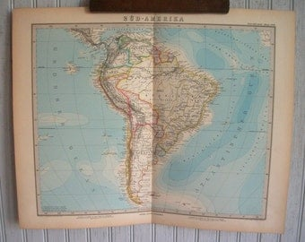 Antique Map of South America from the 1800's in German/ Olympics/ Brazil