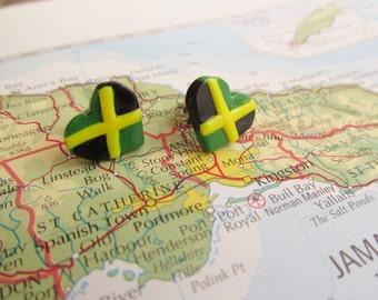 """World Flag Heart Earrings... Jamaican """"I Love Jamaica"""""""