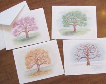 "Original Art Stationery... Tree By Season Scenes Variety Note Cards ""Four Seasons"""