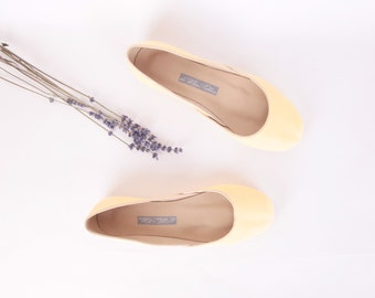 Yellow Leather Ballet Flats | Leather Shoes | Butter Yellow...Ready to Ship