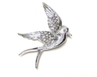 Rare Sarah Coventry Dove Pin Brooch Rhodium Silver Dove