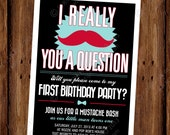 Little Mister Man Mustache Bash Birthday Party Invitation - I Really Mustache You a Question - Mustache Party Invite - PRINTABLE