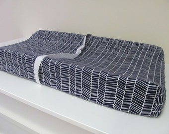 Custom Changing Pad Cover - Contoured - Herringbone Lake - Navy and White