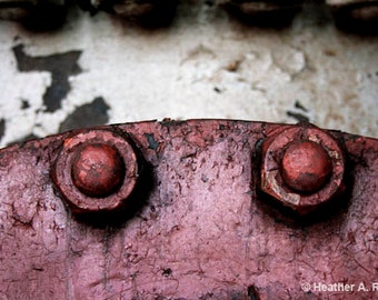 Red bolts, industrial, mechanical, black, rough, white, curve, dirty, photograph