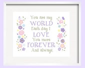 i love you more, Kids  wall art, Nursery Decor, Floral print, inpurple green pink blue poster, baby love girl quote 11x14 by YassisPlace
