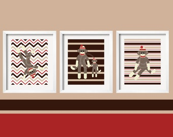 Sock Monkey Print Nursery Art for Children Perfect for Nursery Playroom or toddler room, nursery wall decor by YassisPlace 8x10
