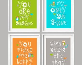 You are My Sunshine, Kids Wall Art / Nursery Decor / Baby Boy Nursery Prints with Owl and Bird green turquoise nursery, Set of 4 YassisPlace