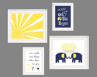 Kids Wall Art You Are My Sunshine Navy and Yellow Nursery Decor 8x10 and 5x7 - Eclectic Nursery or Toddler Girl Wall Art - YassisPlace