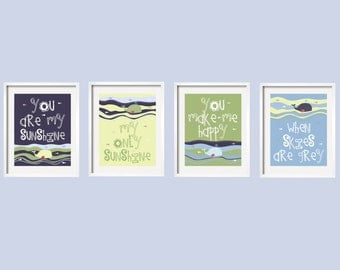 You Are My Sunshine Prints in navy, green, and light blue with Whales and Fish, Set of 4 pictures