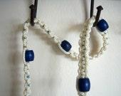 On Sale Vintage Macrame White Belt Blue Wood Beads