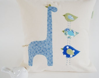 Organic Cotton Blue & Green Giraffe With Birds/ Taller The Better/ Children's Pillow Cover/ Made To Order