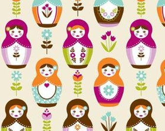 Riley Blake Fabric Little Matryoshka Doll Cream-1 YD