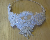 Pretty Bridal Lace Crown, White Lace & Pearl Wedding Head Piece
