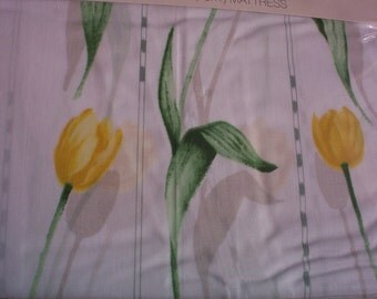 Twin Fitted Yellow Tulips Sheet By Martex, Old Stock