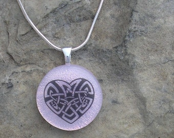 Celtic Heart Pendant Fused Dichroic Glass Heart Necklace