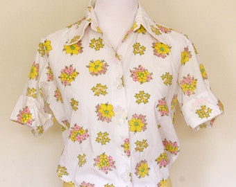 1960's blouse shirt - 50s yellow pink floral