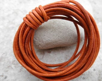 Natural Dye Orange - 1mm Leather Cord - By the Yard