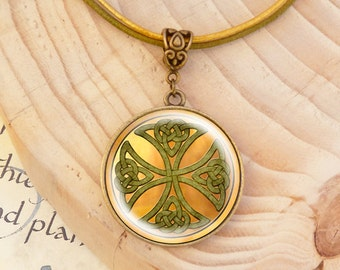 Celtic Cross - Leather Necklace