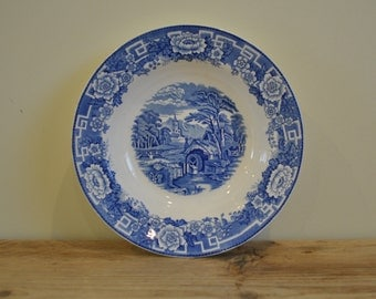Vintage blue & white - Barratts of Staffordshire England - Old English - Village scene bowl - plate