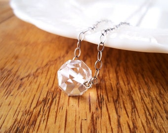 Ready to Ship Jewelry. Crystal Necklace. Vintage Glass Button on Sterling Silver Necklace.
