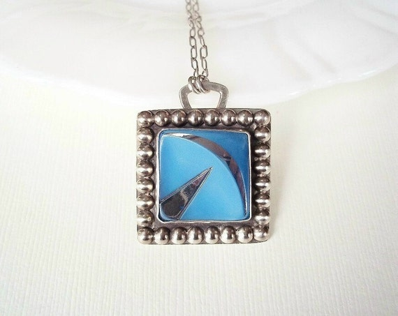 Art Deco Necklace. Vintage Blue Square Glass Button in Sterling Silver Necklace. Mothers Day Gift