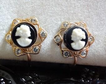 Cameo Filigree Vintage Gold Tone Earrings with Rhinestones